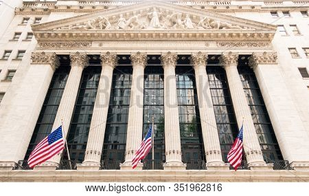 NEW YORK CITY, USA - CIRCA AUGUST 2015: The New York Stock Exchange on Wall Street is the largest stock exchange in the world.