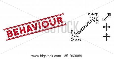 Grunge Red Stamp Watermark With Behaviour Text Inside Double Parallel Lines, And Mosaic Scalability