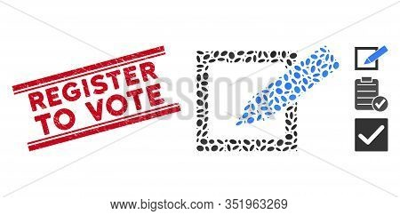 Grunge Red Stamp Watermark With Register To Vote Caption Inside Double Parallel Lines, And Mosaic Ta