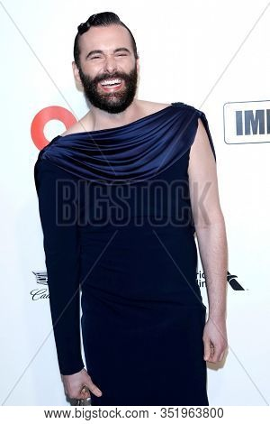 LOS ANGELES - FEB 9:  Jonathan Van Ness at the 28th Elton John Aids Foundation Viewing Party at the West Hollywood Park on February 9, 2020 in West Hollywood, CA