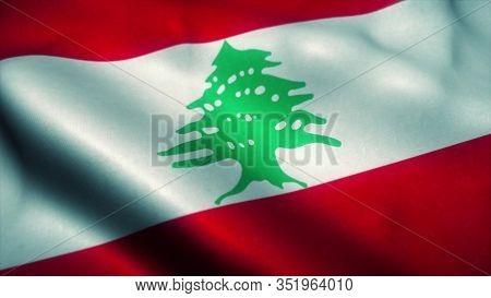 Lebanon Flag Waving In The Wind. National Flag Of Lebanon. Sign Of Lebanon. 3d Rendering.