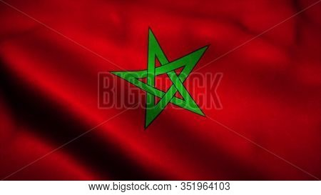 Morocco Flag Waving In The Wind. National Flag Of Morocco. Sign Of Morocco. 3d Rendering.