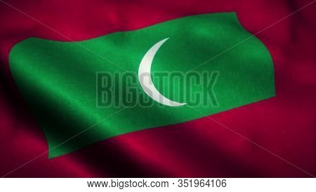 Maldives Flag Waving In The Wind. National Flag Of Maldives. Sign Of Maldives. 3d Rendering.