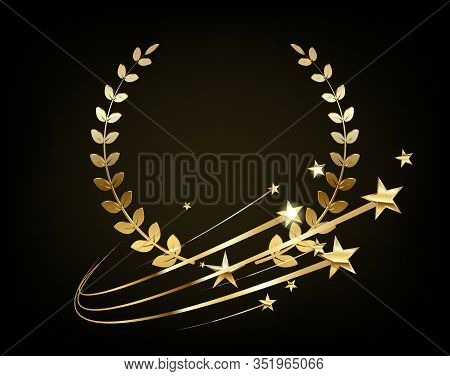 Luxury 3d Logo With A Golden Wreath. Privilege, Premium Membership Card Design Idea With Gold Stars.
