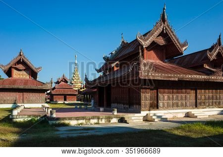 Mandalay royal Palace, Wooden carved buildings inside of palace compound, Myanmar