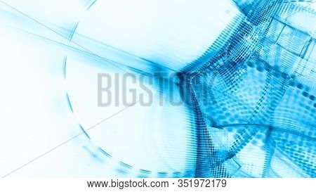 Abstract blue and white background element. Fractal graphics 3d illustration. Wide format composition of grid cells and circles. Information technology concept.