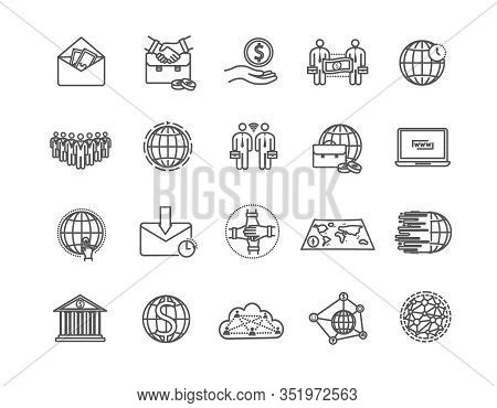 Large Set Of Line Drawing Style Global Business Icons For Banking, Money, Handshake, Partnership, Wo