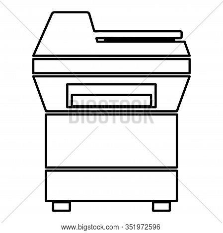 Copy Machine Printer Copier For Office Photocopier Duplicate Equipment Icon Outline Black Color Vect