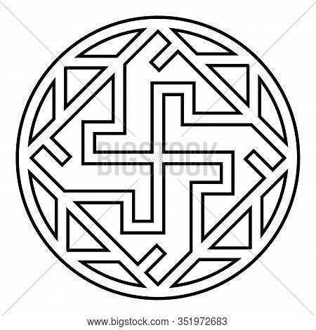 Valkyrie Varangian Sign Valkiriya Slavic Symbol Icon Outline Black Color Vector Illustration Flat St