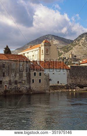 View Of Old Town Of Trebinje On Bank Of Trebisnjica River On Winter Day. Bosnia And Herzegovina, Rep