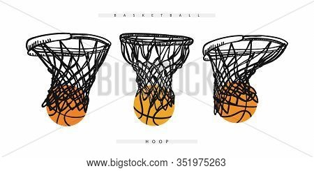 Basketball Hoop With The Ball. Collection Of Sports Elements For The Design Of Banners, Posters, Fly