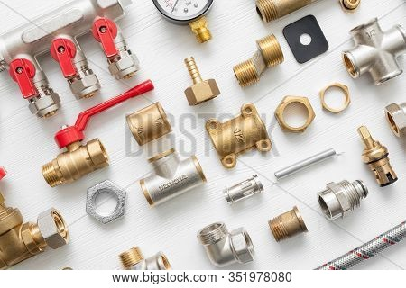 A Plumbing Equipment Close Up Flat Lay Background.