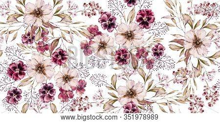 Watercolor Floral Vintage Seamless Pattern On Luxury White Print. Hand Painted Watercolour Floral Pa