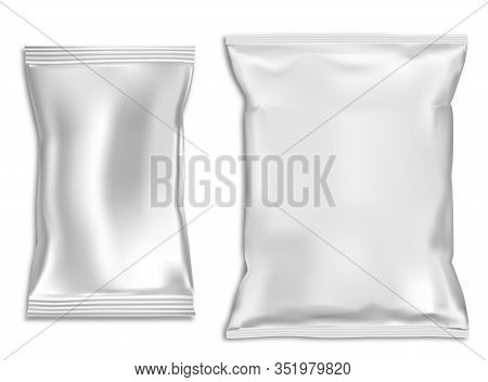 Snack Bag Mock Up. Plastic Pillow Pouch Blank. Vector Template For Foil Sachet Isolated On Backgroun
