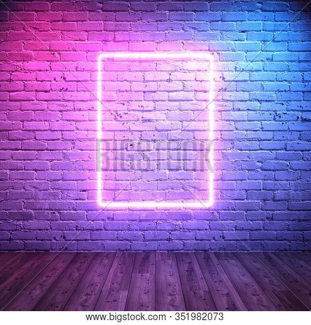 Neon frame on background of brick wall with backlight in retro style, 3D illustration, rendering.