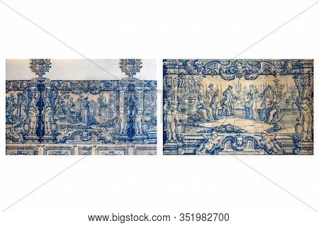 View Of An 18th Century Tiles Panel Depicting Gallant Scenes Of The Nobility, At The Entrance Hall O
