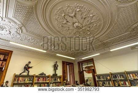Lisbon - August 30, 2019: Detail Of The Library Ceiling Of The Palace Of The Counts Of Azambuja In B
