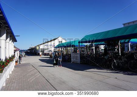 Mackinac Island, Michigan / United States - June 11, 2018: Bicycles Are Available For Rent In Front