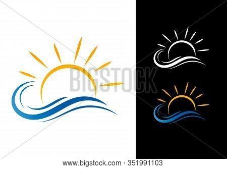 Water Wave And Sun Logo, Sea Wave, Ocean Beach Logo Template Vector