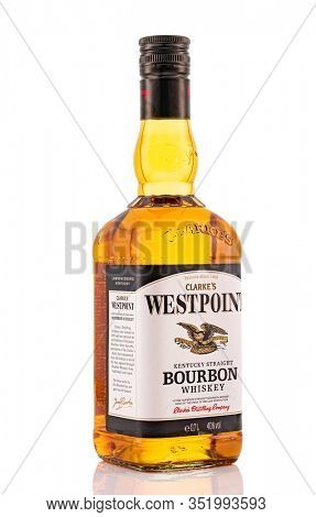 Berlin - JAN 15, 2020: Discount Westpoint Scotch Whiskey from the supermarket on store shelf in Berlin. Westpoint Bourbon is an Discounter Scotch Whiskey from the supermarket