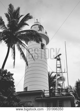 Black And White Photo Of Beautiful Lighthouse In Galle, Sri Lanka