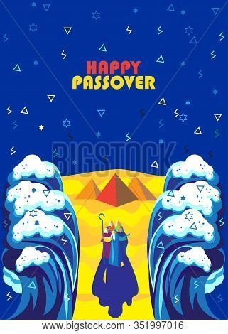 Passover Exodus from Egypt Happy Passover Festival Pesach Jewish Holiday poster. Moses parting the Red Sea, Israelites going on dry ground, waves sky manna matza Egyptian pyramids Sinai desert haggadah