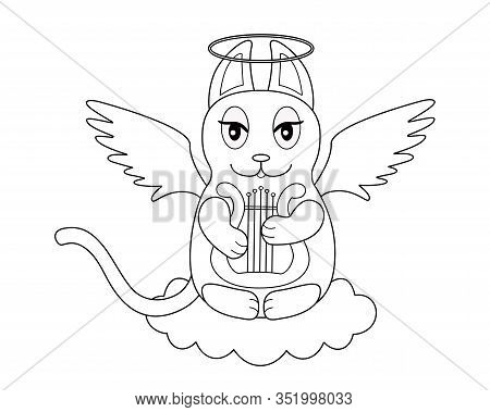 An Angel Cat With Wings And A Halo Sits On A Cloud And Plays The Harp - A Linear Picture For Colorin