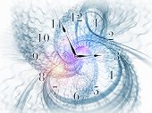 Composition of gears clock elements dials and dynamic swirly lines as a concept metaphor on subject of scheduling temporal and time related processes deadlines progress past present and future poster