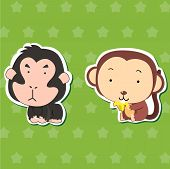 cute animal stickers with orangutan and monkey poster