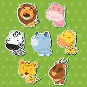 cute animal stickers with lion hippo zebra rhinoceros giraffe cheetah and antelope. poster