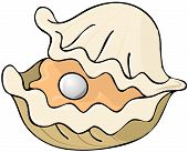 This illustration depicts a cartoon oyster half opened to reveal a large pearl inside. poster