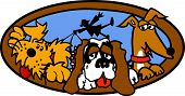 Dog Sitter or Dog Sitting Pet Service Cartoon of Three Dogs including a Mutt, a St. Bernard and a Dachshund poster