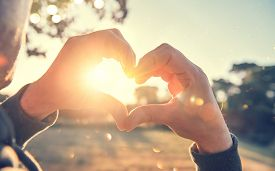 Person making heart with hands over nature sunset background. Happy young people. Silhouette hand in heart shape with sun inside. Vacation, environment concept. Summer holidays