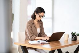 Home Office. Portrait Of Young Female Manager Wearing Specs And Brown Shirt Using Laptop, Working Re