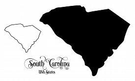 Map Of The United States Of America (usa) State Of South Carolina - Illustration On White Background
