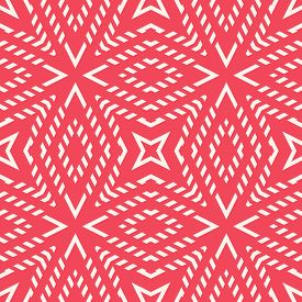 Abstract Geometric Lines Seamless Pattern. Vector Ornament In Red Color. Simple Geometrical Texture