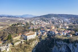 An Aerial View Of City Of Pazin And Pazin Cave In Foreground, Istria, Croatia