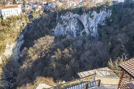 An Aerial View Of Pazin Zip Line Over Abyss Is An Extraordinary Natural Attraction, In Autumn, Istri