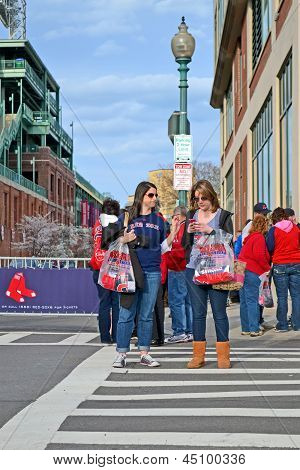 Boston - Apr 20: Red Sox Fans Near Fenway Park On April 20, 2013 In Boston, Usa.