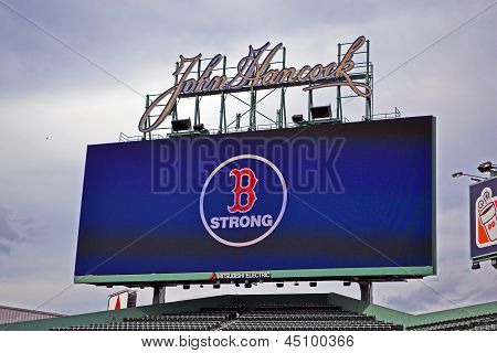 Boston - Apr 20: Boston Strong Message In Fenway Park, Oldest Professional Sports Venue In The Unite