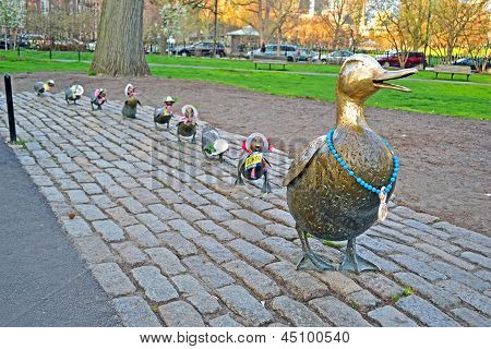Boston - Apr 20: Sculpture Of Ducks Tribute To Robert Mccloskeys Story