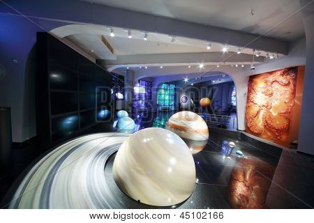 MOSCOW - JUNE 15: Models of solar system in Planetarium, on June 15, 2012 in Moscow, Russia. Moscow Planetarium was opened in 1929.