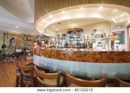 MOSCOW - MAY 31: Bar counter, museum in Ochakovo factory, May 31, 2012, Moscow Russia. Ochakovo company has brands Ochakovo, Ochakovo Premium Black lung, Ochakovo Premium Lager, Barley ear, Kaltenberg