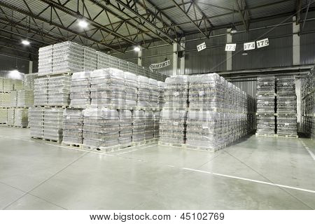 MOSCOW - MAY 31: Lot of packaged beer in Ochakovo factory, on May 31, 2012 in Moscow, Russia. Ochakovo company was founded in 1978.