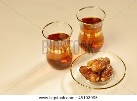 Traditional arabic tea and dates poster