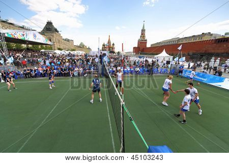MOSCOW - MAY 26: Volleyball players started playing on VIII Forum Ready for Labor and Defense on May 26, 2012 in Red Square, Moscow, Russia.