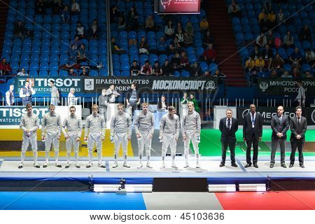 MOSCOW - APR 6: Presentation of competitors on championship of world in fencing among juniors and cadets, in Sports complex, on April 6, 2012 in Moscow, Russia