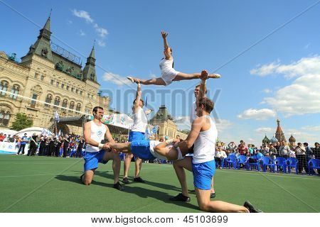 MOSCOW - MAY 26: Circus artists on the court Dynamo on VIII Forum Ready for Labor and Defense on May 26, 2012 in Red Square, Moscow, Russia.