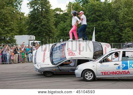 MOSCOW - JUN 30: Performance of members from stuntmen team Avtorodeo Togliatti Trick during Speedfest at Olympic complex Luzhniki, June 30, 2012, Moscow, Russia.