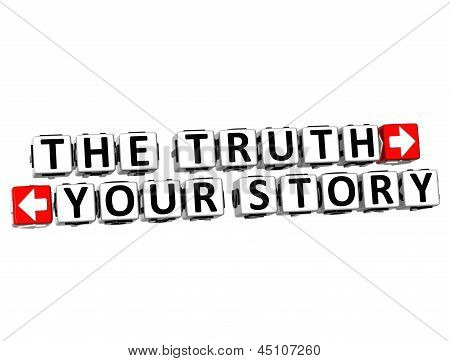3D The Truth Your Story Button Click Here Block Text